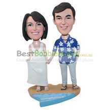 personalized custom couple on the beach bobbleheads