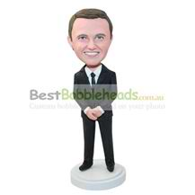 personalized custom man in a black suit bobblehead