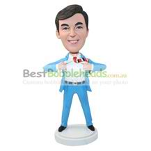 personalized custom man in light blue suit figurines bobbleheads