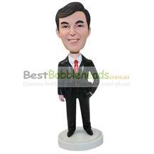 personalized custom salesman in black suit bobbleheads