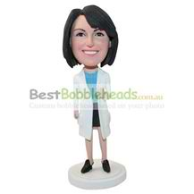 personalized custom woman in white coat bobbleheads