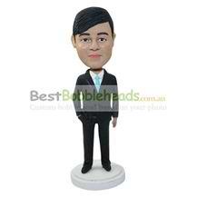 personalized handsome office man in black suit bobbleheads
