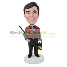 personalized hunter with a gun and a oil lamp bobbleheads