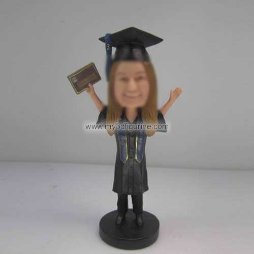 Customized female Graduation bobbleheads